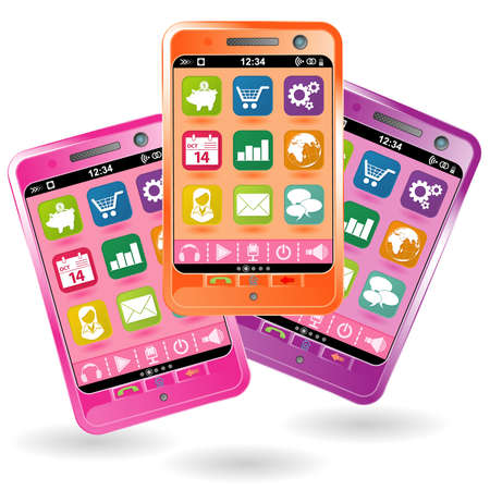 Mobile Smartphone with icons in various colors, element for design Stock Vector - 10858346