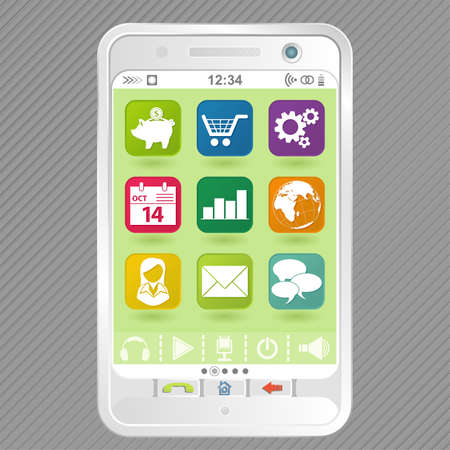 communicator: Mobile White Smartphone with icons, element for design Illustration