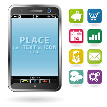Mobile Smartphone with a blank place for icon and icon set, element for design Stock Vector - 10858331