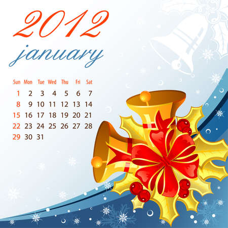 Calendar for 2012 January with Bell, element for design Stock Vector - 10858338