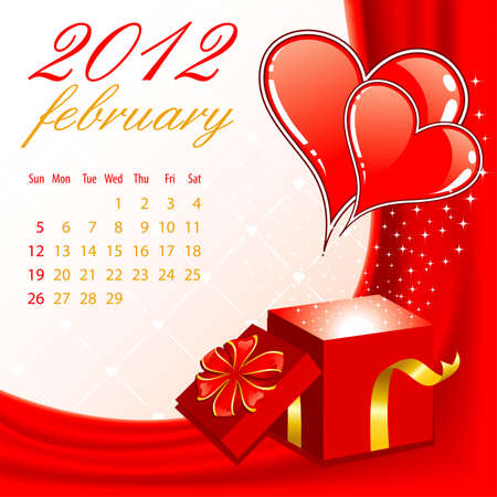 Calendar for 2012 February with Hearts, element for design