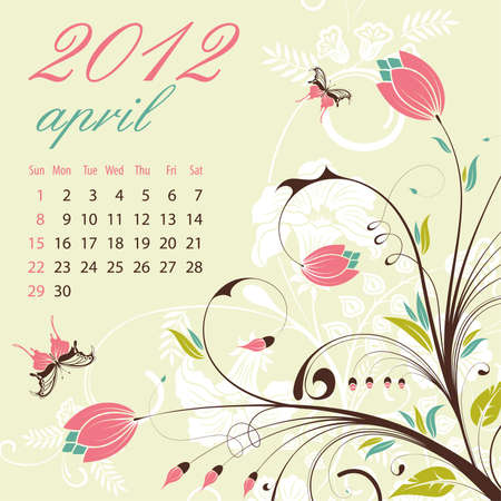 Calendar for 2012 April with Flower, element for design Vector