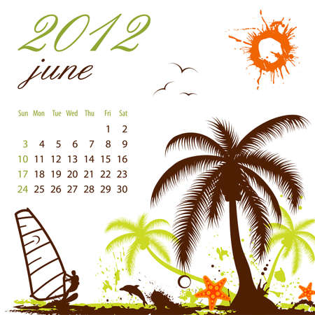 Calendar for 2012 June with Palm tree and Windsurf Vector