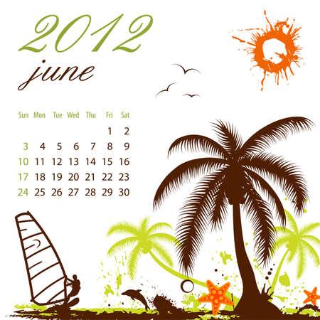 dattelpalme: Kalender f�r 2012 Juni mit Palme und Windsurf