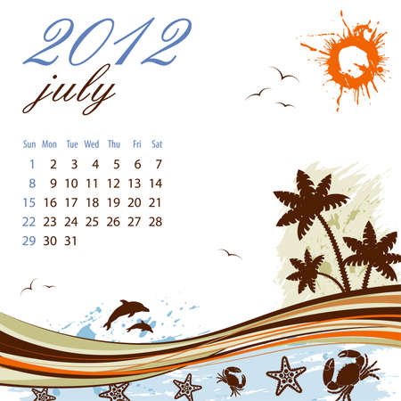 date palm: Calendar for 2012 July with Palm tree and Dolphin, vector illustration