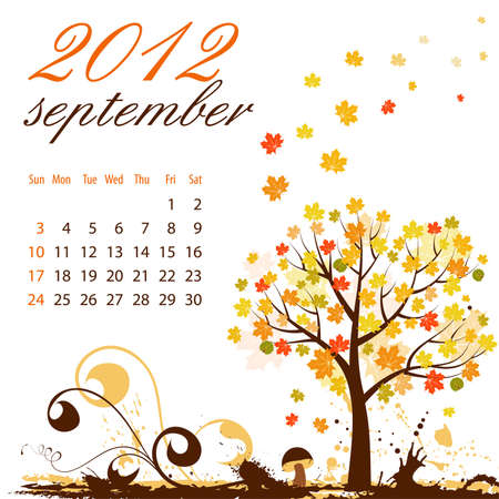 Calendario per settembre 2012 con albero e funghi