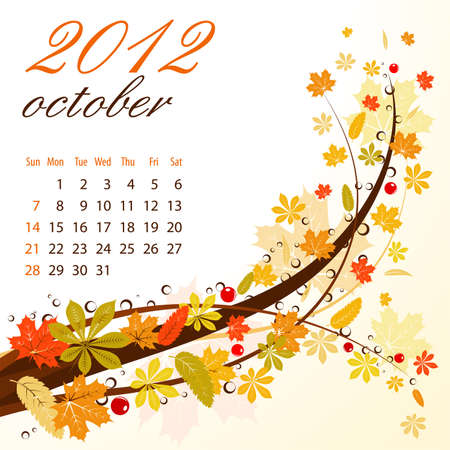 Calendar for 2012 October with Leaves Stock Vector - 10858345