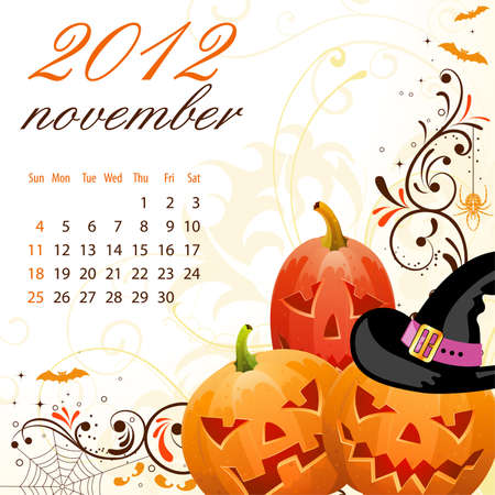 Calendar for 2012 November with Halloween elements Vector