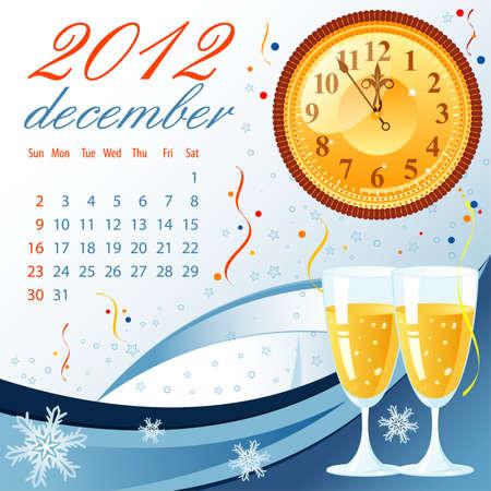 Calendar for 2012 December with Bell, element for design Stock Vector - 10858336