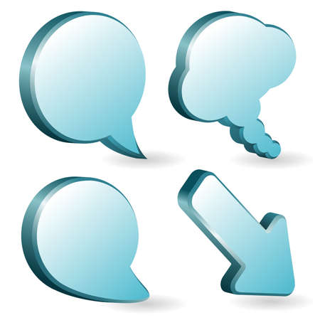 Set of volumetric speech and thought bubbles, element for design Vector