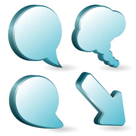 speak bubble: Set of volumetric speech and thought bubbles, element for design
