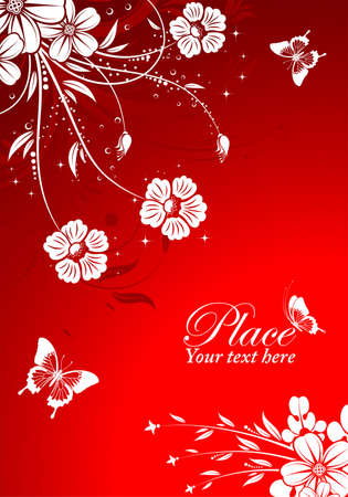 Floral Background with butterfly, element for design Vector