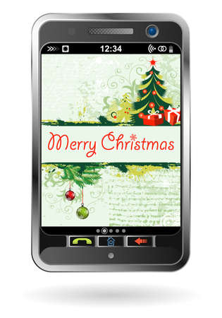 Mobile Smartphone with Christmas background, element for design Stock Vector - 10930775