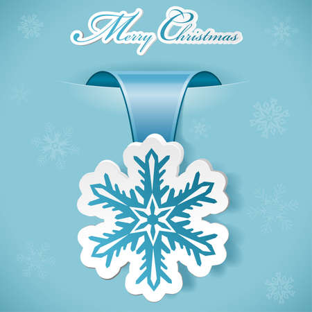 Christmas sticker with snowflake Illustration