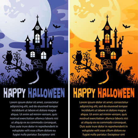 Halloween background with Castle in different colors, element for design