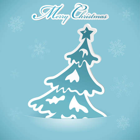 Christmas sticker with tree Vector