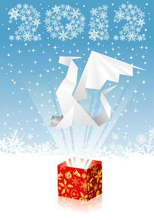Christmas card with a dragon flying out of gift box, element for design Stock Vector - 10930769