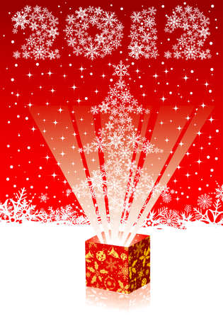 Christmas background with tree and gift box, element for design Stock Vector - 10930771