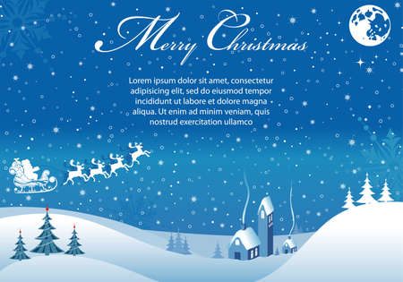 Christmas background with tree, Santa, house, element for design, vector illustration Illustration