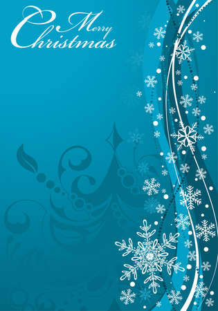 blue christmas background: Christmas background with tree and snowflake, element for design, vector illustration