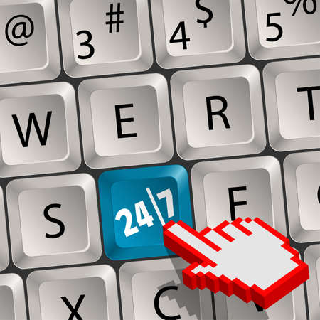 Computer keyboard with a key twenty four hours by seven days and Pixel Hand Cursor Stock Vector - 11099983