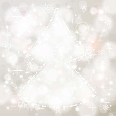 Christmas Background with snowflakes and Christmas Tree, element for design, vector illustration Vector