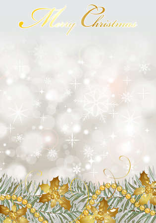 Christmas Background with snowflakes, fir branches, mistletoe element for design, vector illustration Stock Vector - 11099986