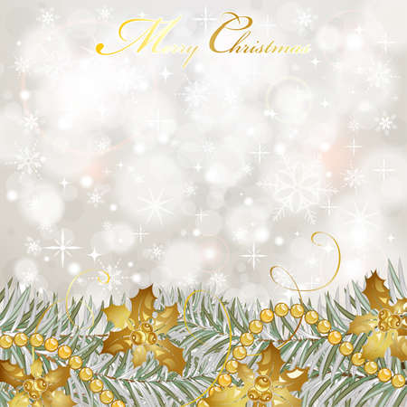 holiday season: Christmas Background with snowflakes, fir branches, mistletoe element for design, vector illustration