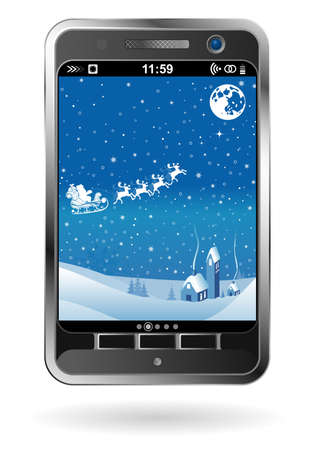 Mobile Smartphone with Christmas background, element for design, vector illustration Stock Vector - 11099985