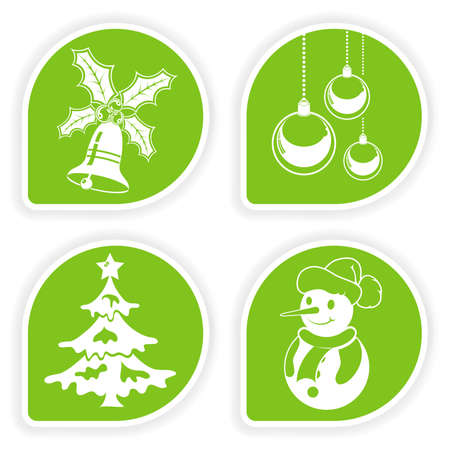 Collect sticker with Christmas icon, tree, snowman, bauble and bell, vector illustration Vector