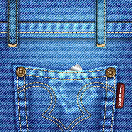 Jeans Texture with Pocket, Rivets and Condom, vector illustration