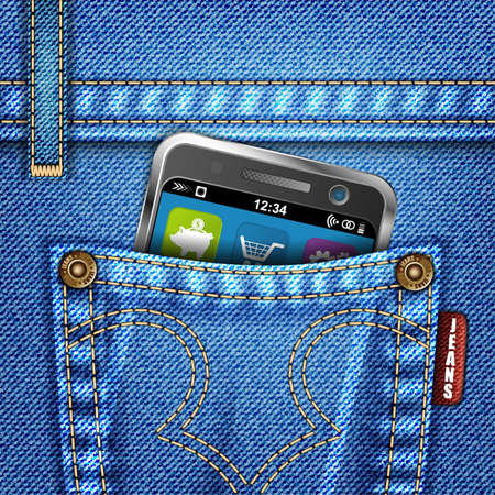 Jeans Texture with Mobile Phone