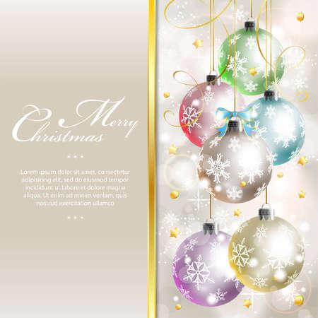 Kerst achtergrond met sneeuwvlokken en snuisterij, element voor ontwerp, vector illustration