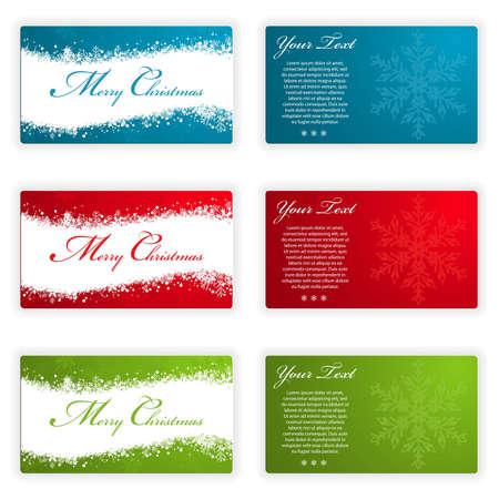 Verzamel Kerstkaarten met sneeuwvlokken en Wave patroon in verschillende kleuren, element voor ontwerp, vector illustration