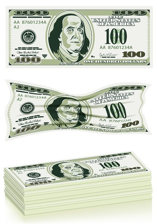 Set Dollar Bills in Packs, without and Crumpled, illustration