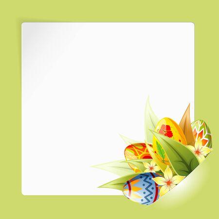 Pasen Frame met vel wit papier voor uw tekst of foto's, gemonteerd in de zak, sjabloon