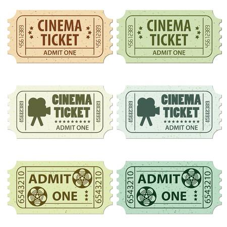 Conjunto de entradas de cine en diferentes colores y estilos, ilustración Ilustración de vector