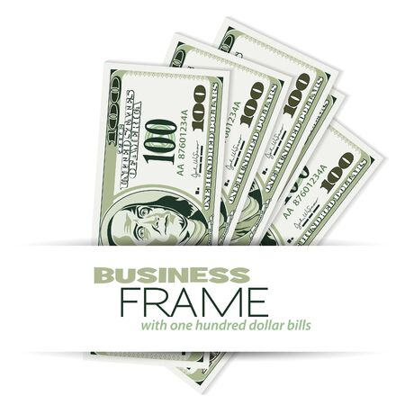 Business Frame with Dollar Bills, template for design