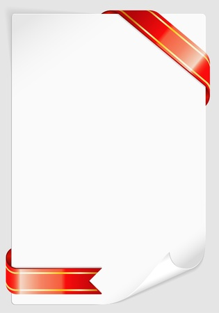 Sheet of white paper for your text or photos with various Ribbon, template for design