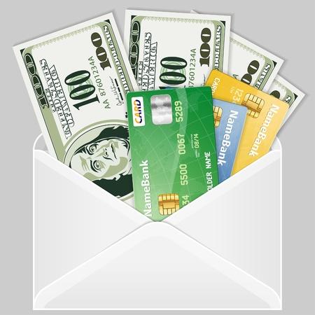 Aprire la busta con quattro banconote da cento dollari e carte di credito,