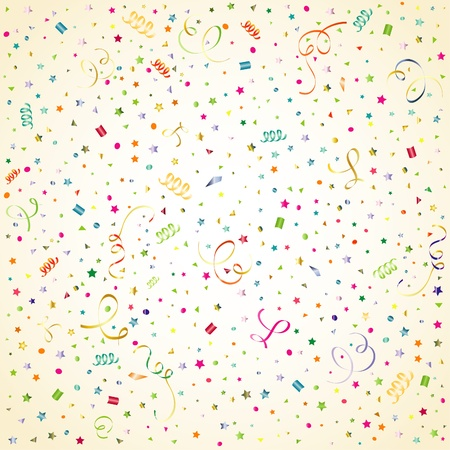 Cumpleaños de fondo con serpentina y confeti, elementos para el diseño, la ilustración