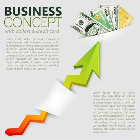 Concept Réussite en affaires avec le pack de dollars et le graphique, modèle pour la conception