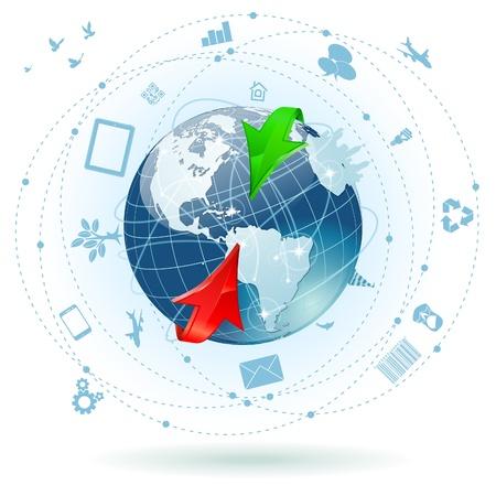 Concetto di Global Business con la Terra, Arrow e un sacco di icone del mondo, illustrazione