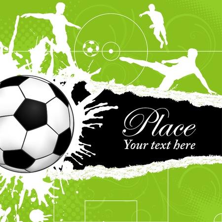 Balón de fútbol en fondo del grunge con los Jugadores de Fútbol Siluetas, de la plantilla del cartel, ilustración