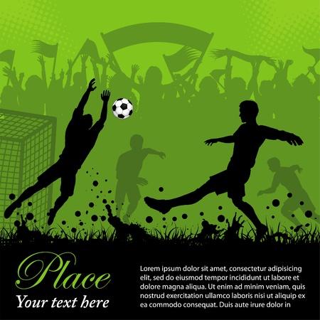 Plakat piłkarski z graczy i fanów na tle, grunge element projektu, ilustracji