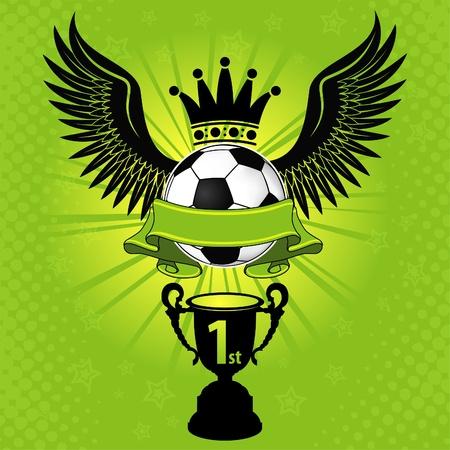 Voetbal ballen met Wings, Crown en Cup, illustratie