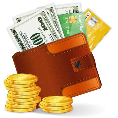 Billetera de cuero con tarjetas de crédito, dólares y monedas, ilustración vectorial detallado de alta Ilustración de vector
