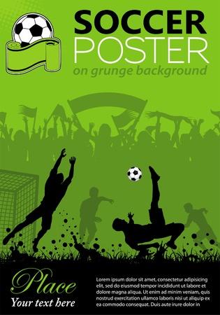 Voetbal Poster met spelers en fans op grunge achtergrond, element voor ontwerp