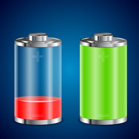 Bateria Przezroczyste Ikony z różnych poziomach Charge Ilustracje wektorowe
