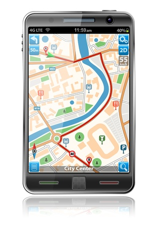 Smart Phones with GPS Navigation Application, isolated on white background
